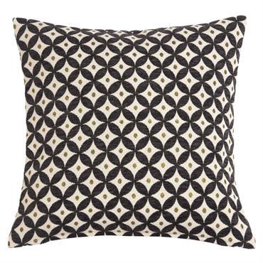 Coussin motifs jacquard noirs et écrus 40x40