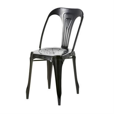 Chaise de jardin indus en métal noir Multipl's