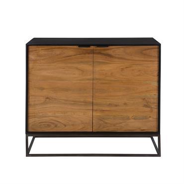 Commode 2 portes en bois d'acacia et pieds en métal