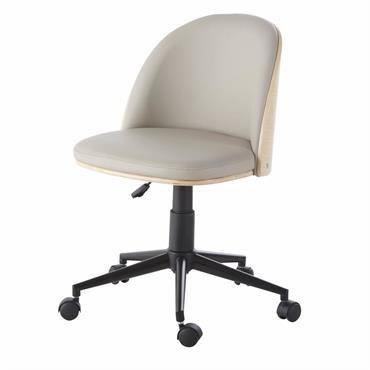 Chaise de bureau réglable à roulettes en textile enduit gris Cuesto