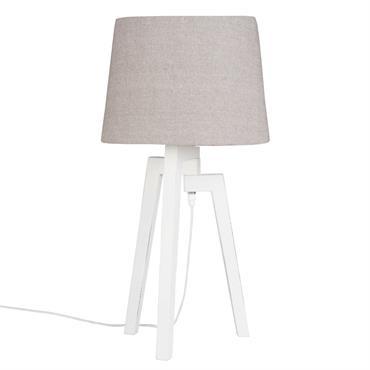Lampe trépied blanc abat-jour taupe