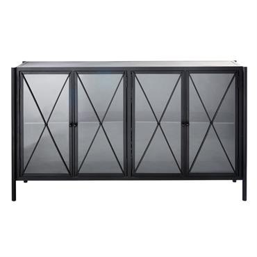 Buffet 4 portes vitrées en métal noir Hemingway
