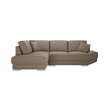 Canapé d'angle gauche 5 places toucher lin noisette