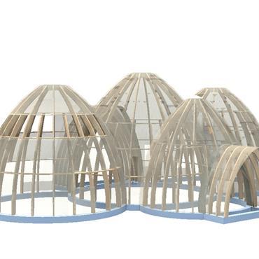 Dans le cadre de l'étude d'un hôtel de 20 cabanes en béton de bois couvert en tavaillons  Domozoom