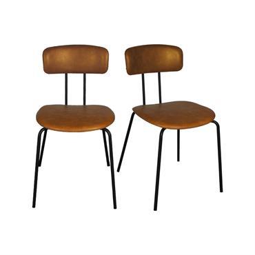 Lot de 2 chaises design en simili pieds métal Camel