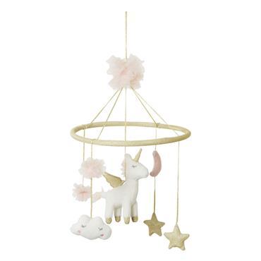 Mobile bébé licorne rose et doré