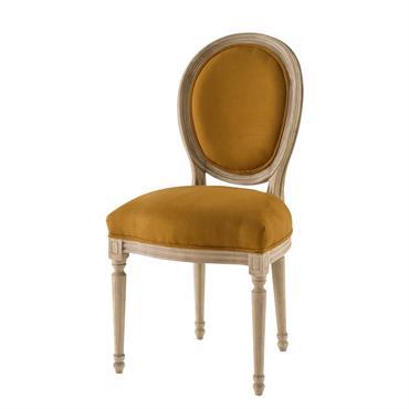 Chaise médaillon en lin lavé ocre Louis