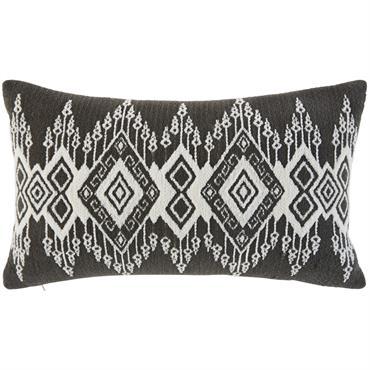 Coussin en coton tissé noir motifs graphiques 30x50