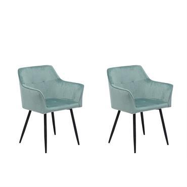 Lot de 2 chaises en velours vert menthe