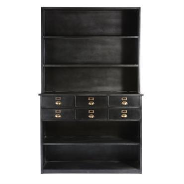 Envie de reprendre les codes du style industriel pour embellir votre cuisine ou votre séjour ? Le vaisselier indus 6 tiroirs en métal noir EDISON en métal noir patiné se ...