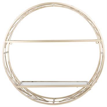 Etagère ronde en métal doré mat et verre