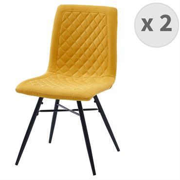 OXFORD-Chaise indus tissu curry foncé pieds noir