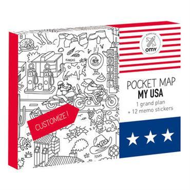 Poster à colorier Pocket Map - USA / 52 x 38 cm