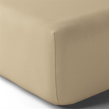 Drap housse coton 160x200 cm grège