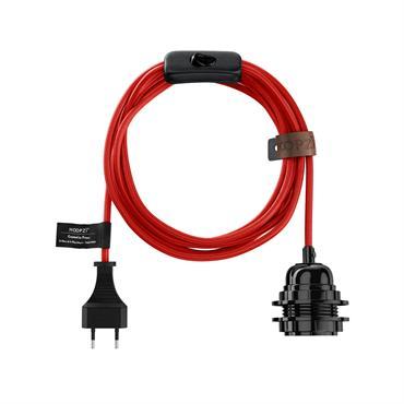 Fil électrique en tissu luminaire rouge 4