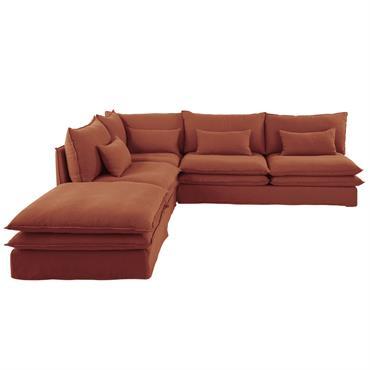 Angle de canapé en lin terracotta Pompei