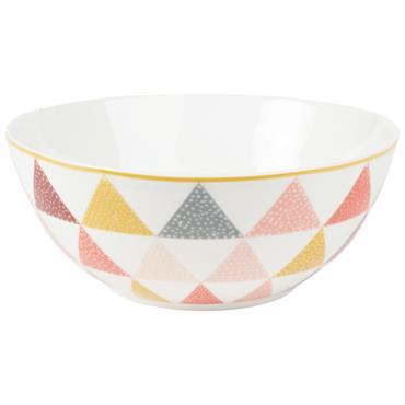 Saladier en porcelaine blanche motifs graphiques