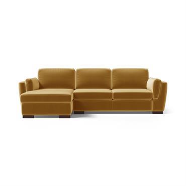 Canapé d'angle gauche 4 places en velours moutarde