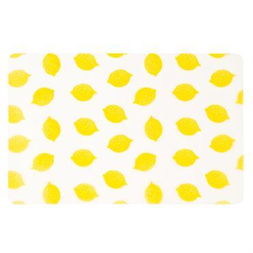 Set de table blanc imprimé citrons jaunes