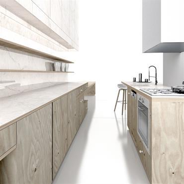 Etudes d'une cuisine avec îlot      matériaux: contreplaqué Bouleau et marbre blanc  Domozoom