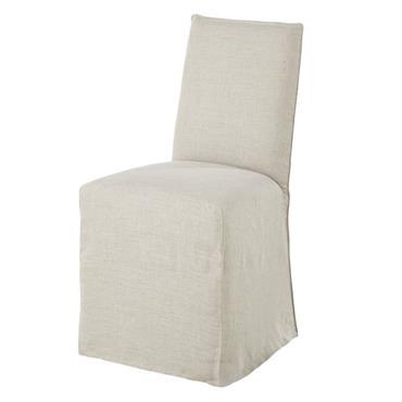 Housse de chaise en lin lavé coloris naturel