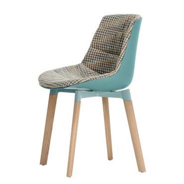 Chaise rembourrée Flow Color / 4 pieds Cross chêne - MDF Italia