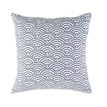 Coussin d'extérieur blanc motifs graphiques bleus 45x45