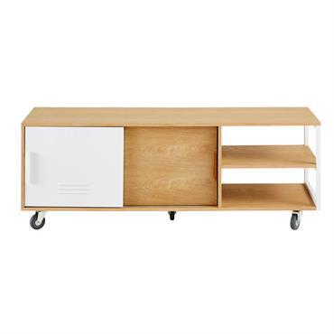 Avec son design pratique, le meuble TV à roulettes 2 portes PILEA fait rimer industriel et fonctionnel ! On ne se lasse pas du placage chêne qui vient contraster avec ...