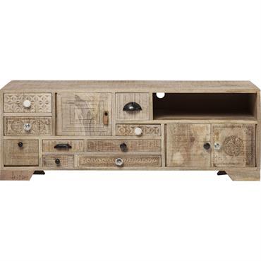 Meuble TV 8 tiroirs 4 portes en manguier massif sculpté