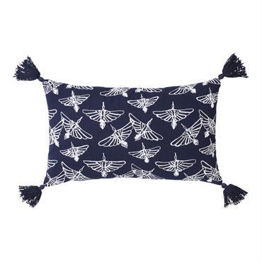 Coussin en coton bleu marine imprimé à pompons 30x50