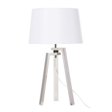 Lampe trépied en métal et abat-jour blanc