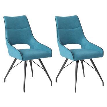 Lot de 2 Chaises Tissu Coloris Bleu