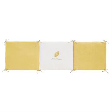 Tour de lit bébé en gaze de coton jaune et blanc imprimé citron