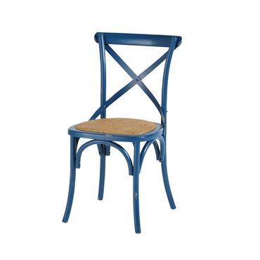 Chaise bistrot en rotin et bouleau bleu indigo Tradition