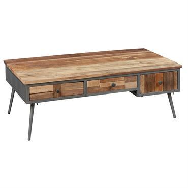 Table Basse RectangulaireLeonard.Une table basse disposant d'un large plateau, et également équipé de tiroirs de rangement pour ne pas encombrer inutilement votre table. A combiner avec les autres meubles de ...