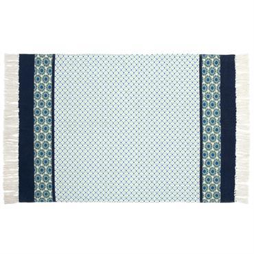 Tapis en coton blanc à motifs bleus et verts et franges 90x150