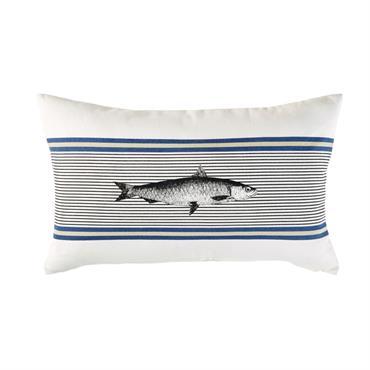Coussin d'extérieur en coton écru imprimé poisson 30x50