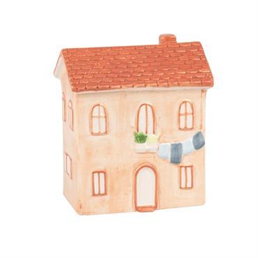 Statuette maison en porcelaine terracotta H15