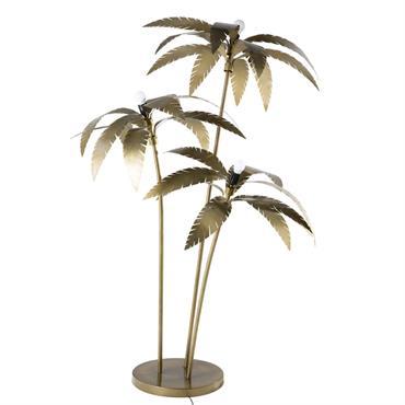 Lampadaire palmiers en métal doré H158