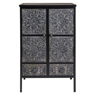 Cabinet en métal et manguier sculpté Topaze