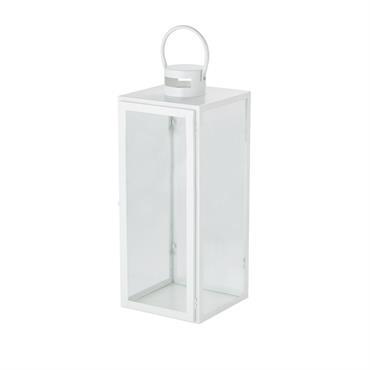 Lanterne en métal blanc et verre H55