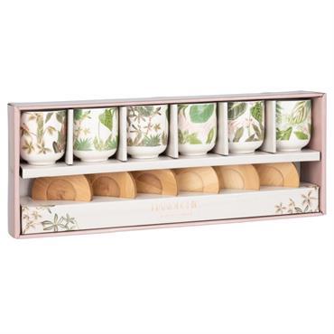 Coffret 6 tasses et soucoupes en faïence imprimée et soucoupe en bambou
