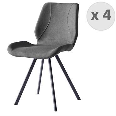 HALIFAX-Chaise indus tissu gris pieds noir brossé