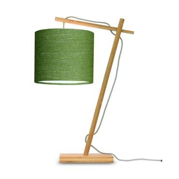 Lampe de table bambou/lin vert H46cm