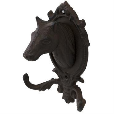 Patère tête de cheval porte-manteau ou serviette en fonte marron16x12
