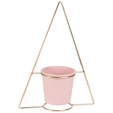 Cache-pot en céramique rose et support triangle doré H33