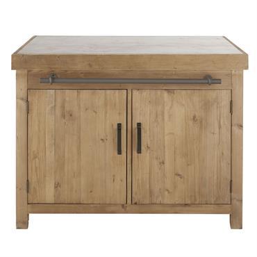 Billot cuisine 2 portes 4 tiroirs en pin recyclé effet vieilli Aubagne