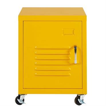 Table de chevet à roulettes en métal jaune Loft
