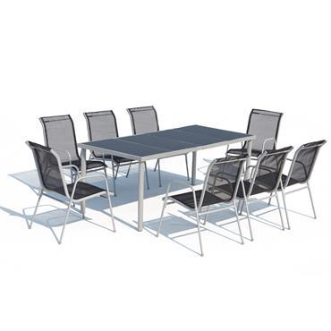 Table de jardin et 8 chaises en acier et textilène gris