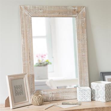 Miroir en sapin blanchi 55x75